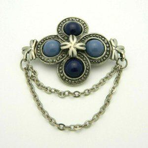 Blue Acrylic Cabochon Medallion Silver Tone Retro